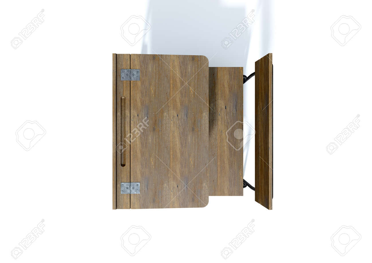 A 3d Rendering Of A Vintage Wooden School Desk With A Hinged Stock