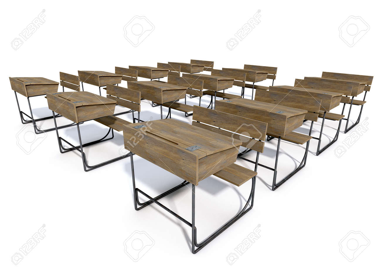 A 3D rendering of an array of vintage wooden school desks set..