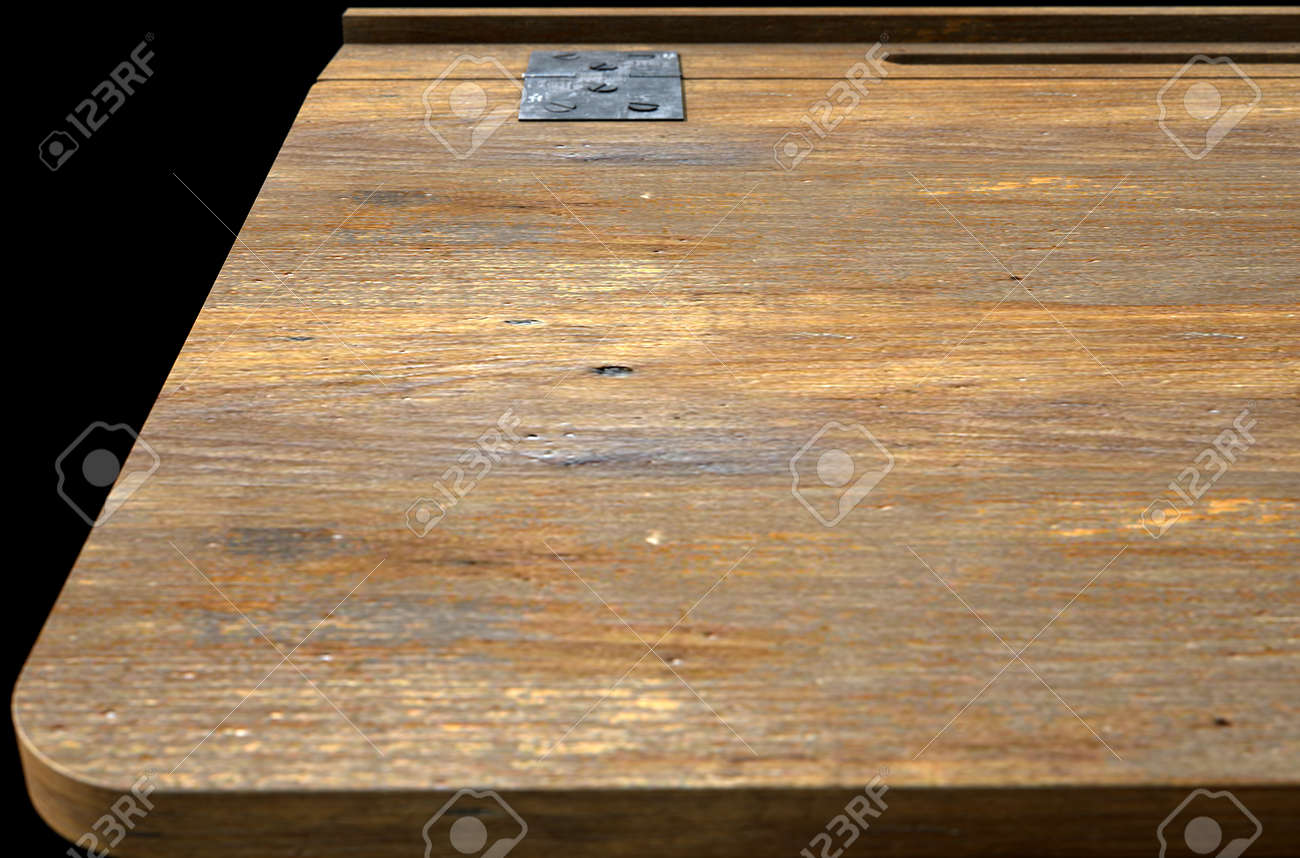 A 3d Rendering Of A Closeup Of A Vintage Wooden School Desk Stock