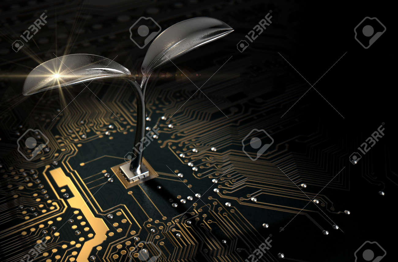 A 3D render of a macro view of a circuit board with a metal plant shoot growing out the centre on a dark isolated studio background - 59126277