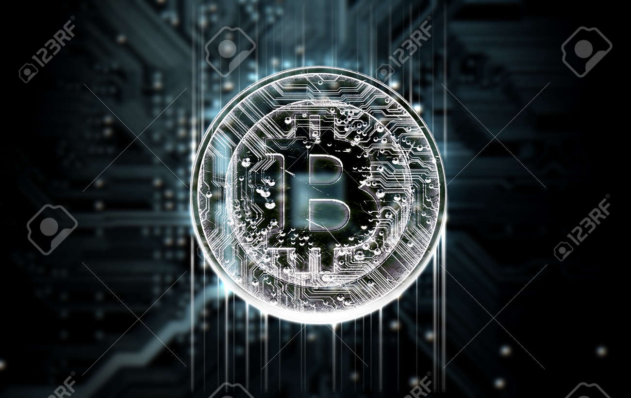 A 3D render of a macro view of a circuit board with a digital bitcoin projecting above it on a dark background - 59144692