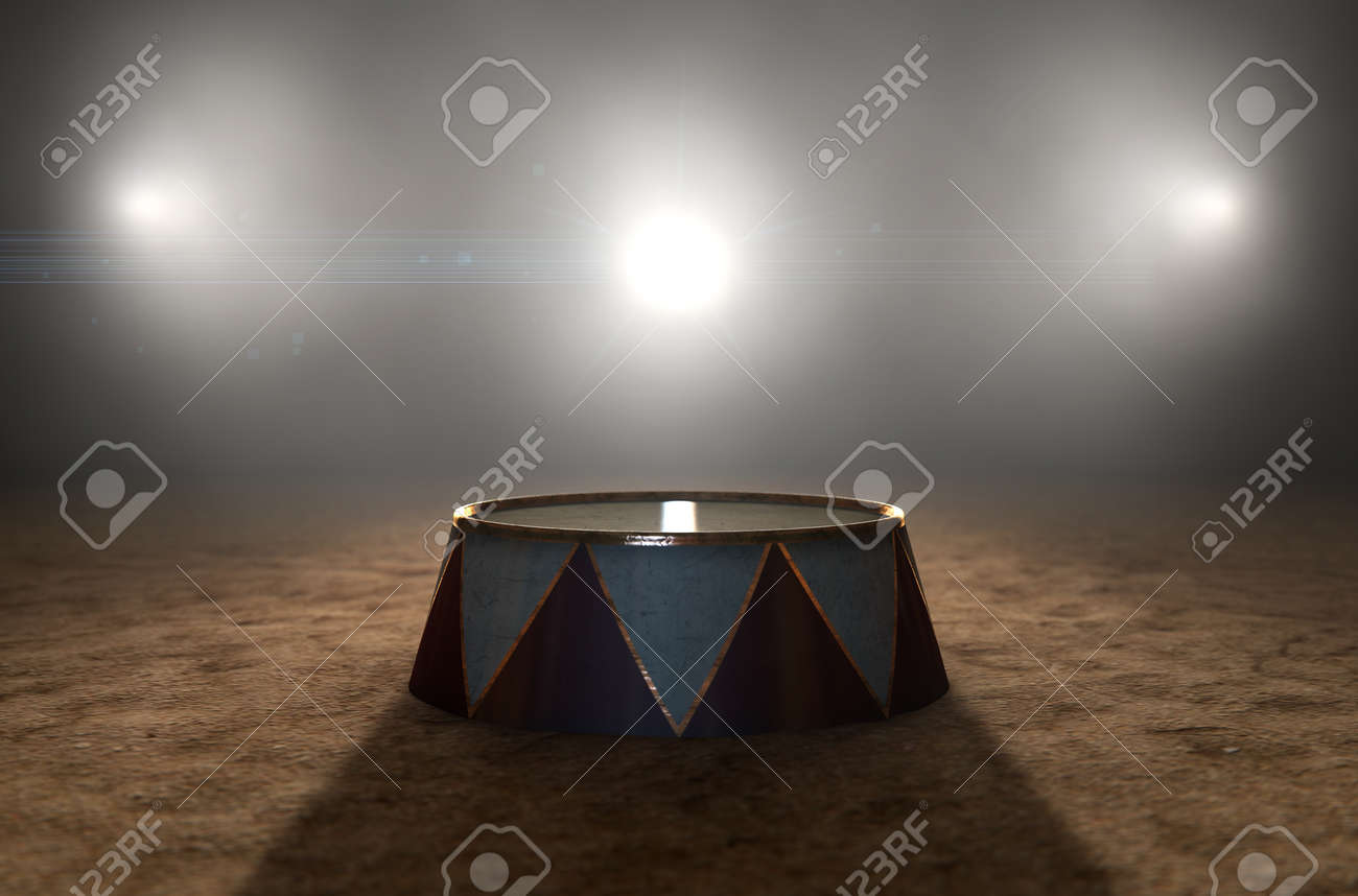 A 3D render of a classic circus arena and an empty ringmasters podium backlit by dramatic spot lights on a dark moody background - 63860870