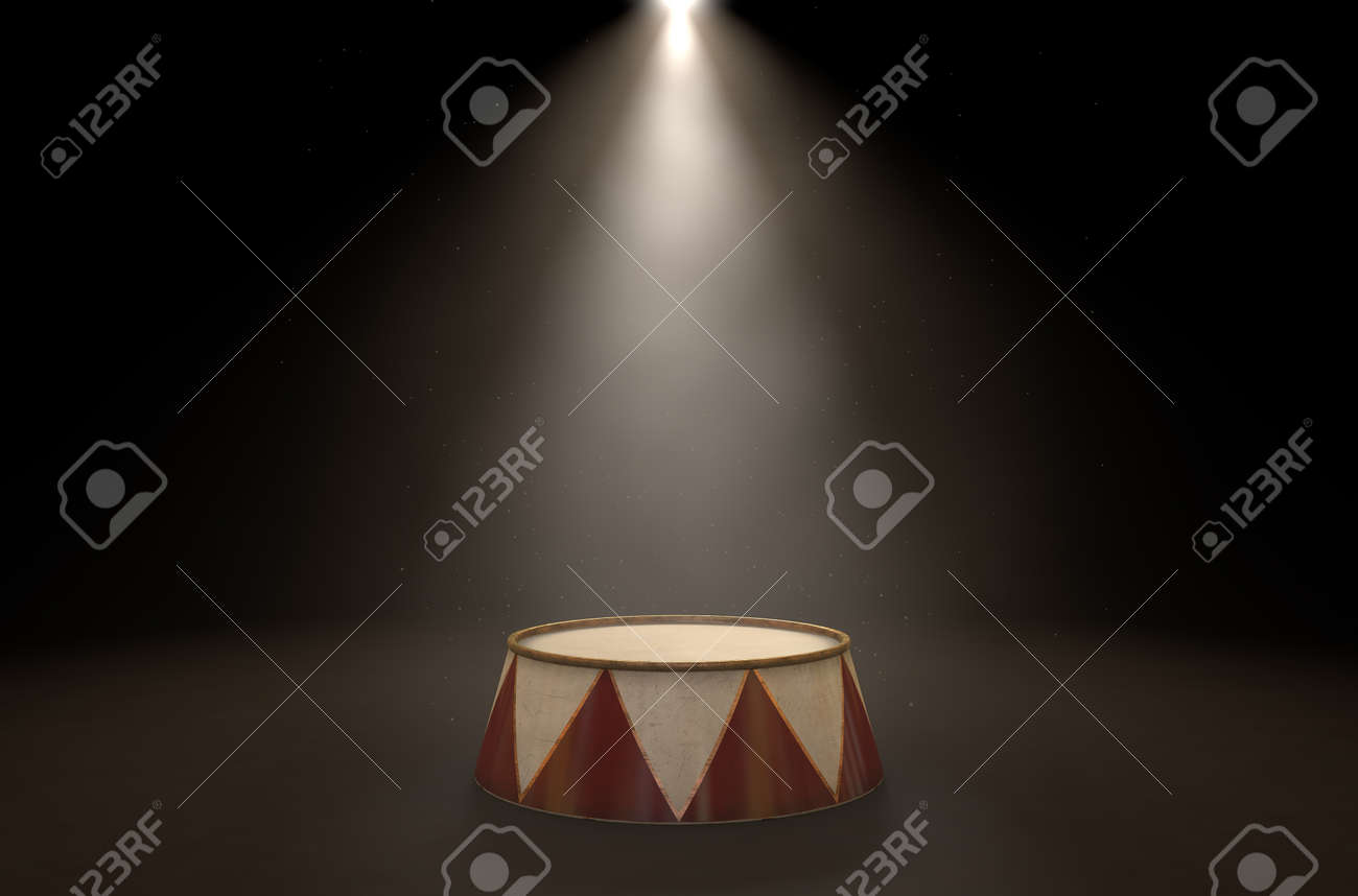 A 3D render of an empty ringmasters podium backlit by dramatic spot lights on a dark classic circus arena background - 61406382