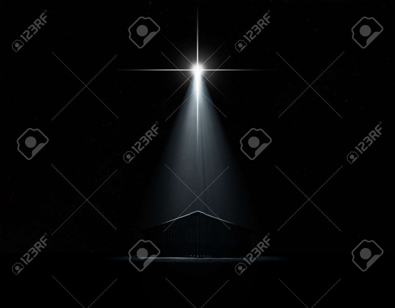 A 3D render of an abstract depiction of the nativity scene of christs birth in bethlehem with an isolated stable being spotlit by a bright star on dark starry night background - 63457223