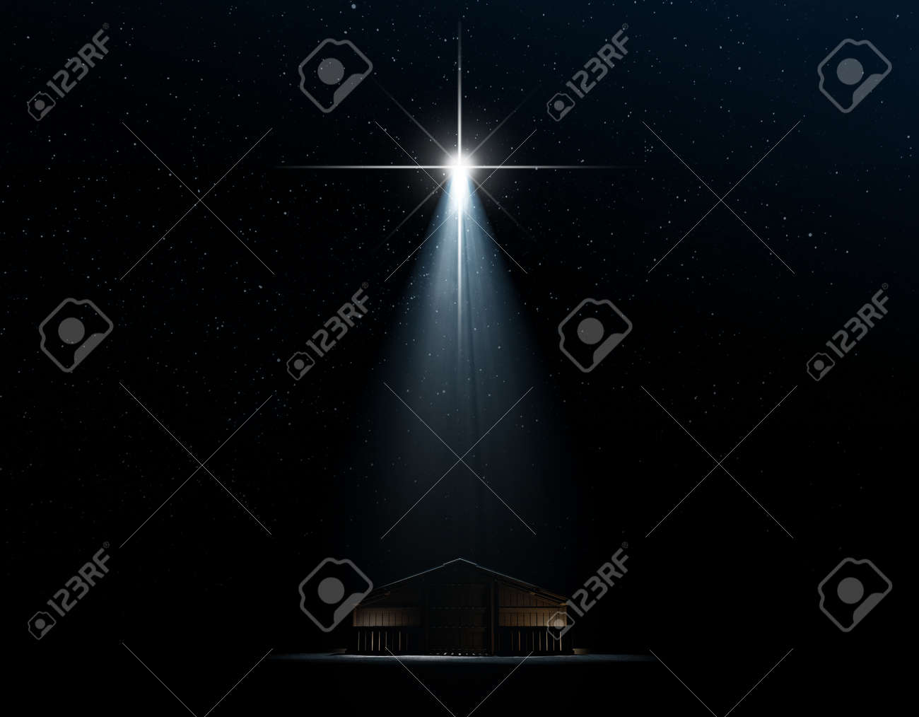 A 3D render of an abstract depiction of the nativity scene of christs birth in bethlehem with an isolated stable being spotlit by a bright star on dark starry night background - 63457225