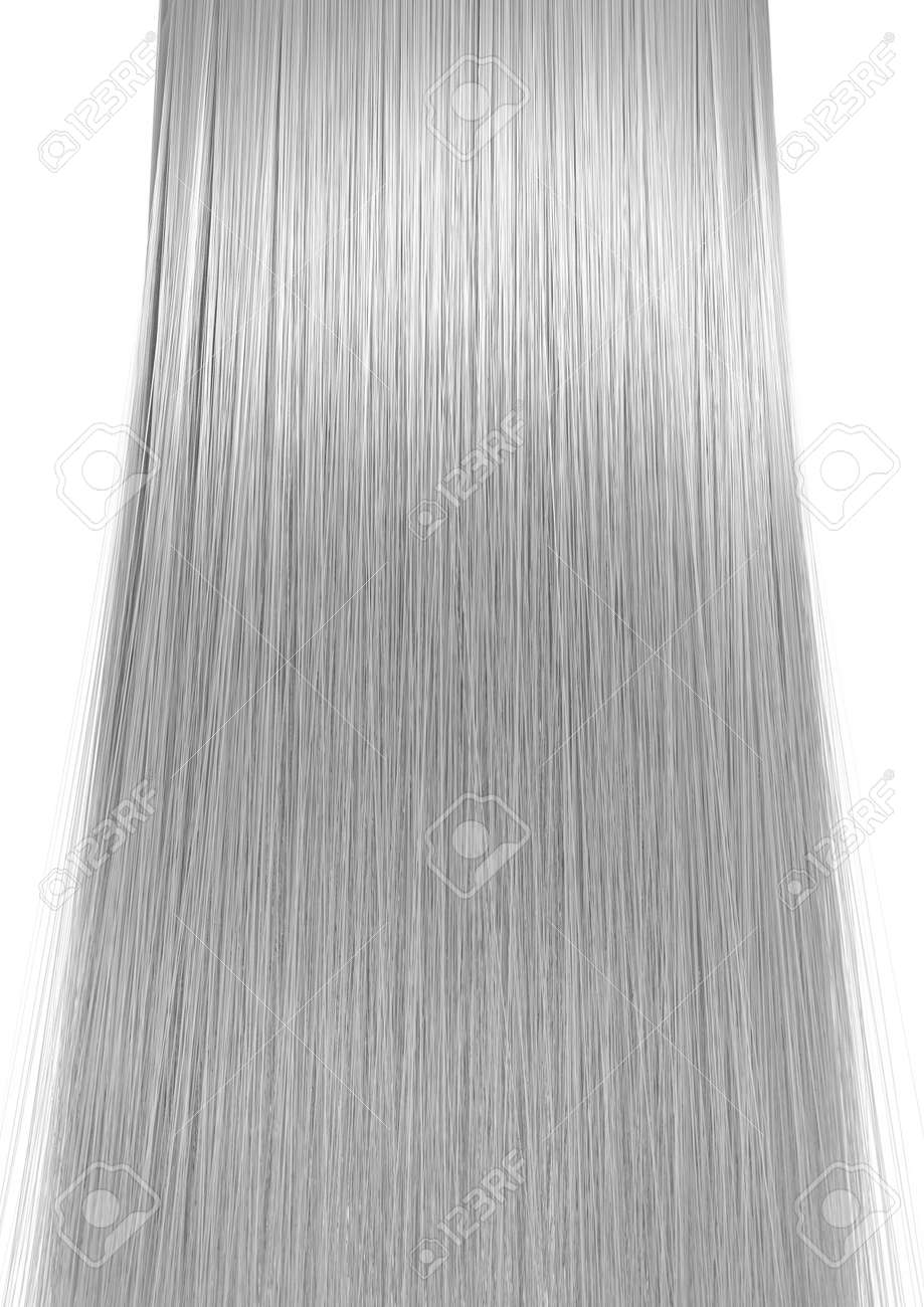 A 3D render of a perfect symmetrical view of a bunch of shiny straight grey hair on an isolated white background - 63460638