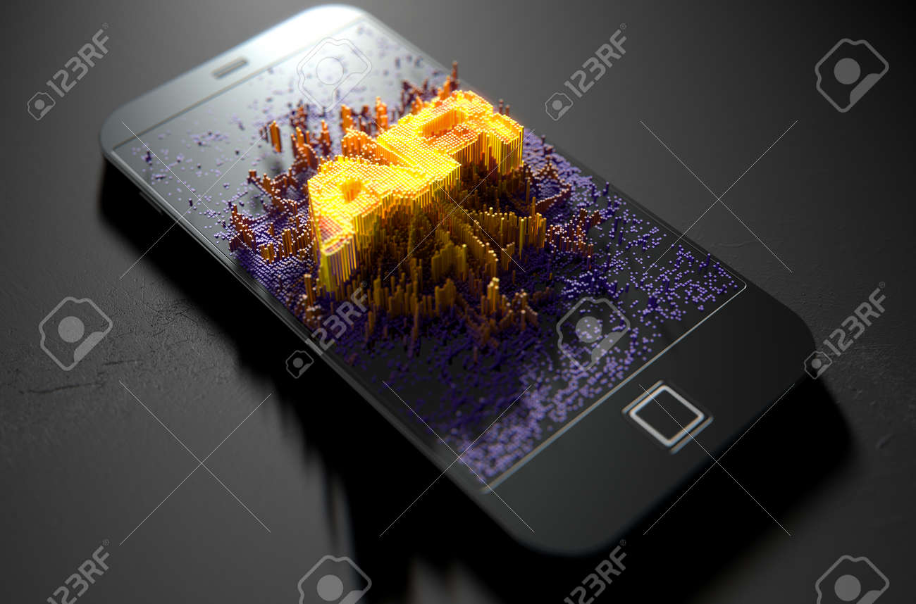 A 3D render of a modern generic smart phone screen emanating small pixels at random that build up to form and illuminate the word Augmented Reality - 64826372