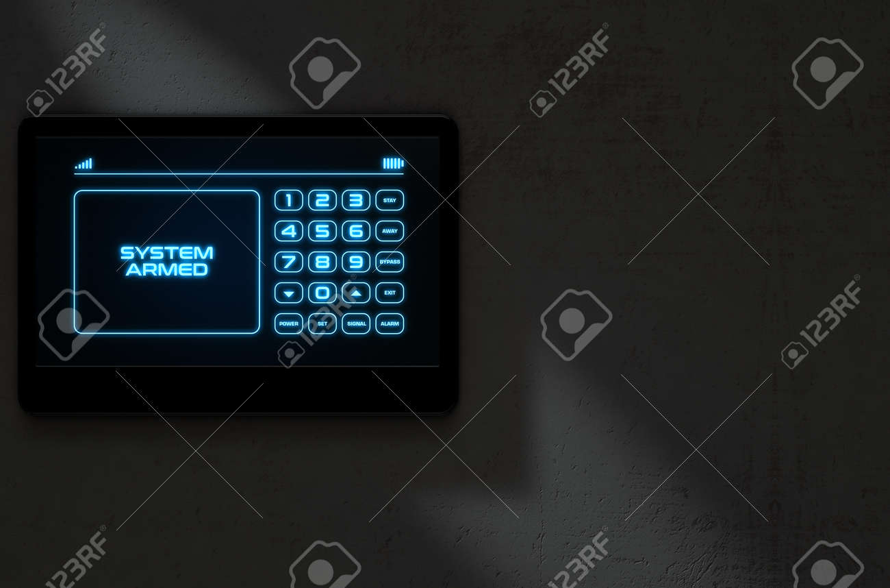 A 3D render of a modern touch screen interactive home security keypad access panel with an illuminated digital numeric keypad and words that read system armed - 64727062