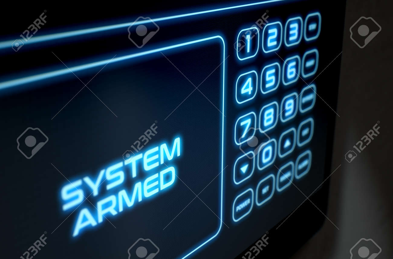 A 3D render of a modern touch screen interactive home security keypad access panel with an illuminated digital numeric keypad and words that read system armed - 64727083