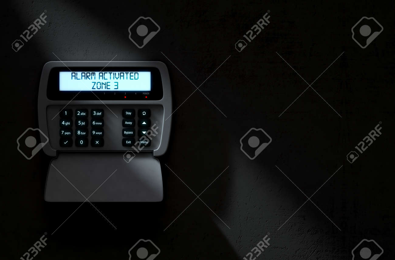 A 3D render of a home security keypad access panel with buttons and an illuminated screen displaying a break in or security breach - 64727095