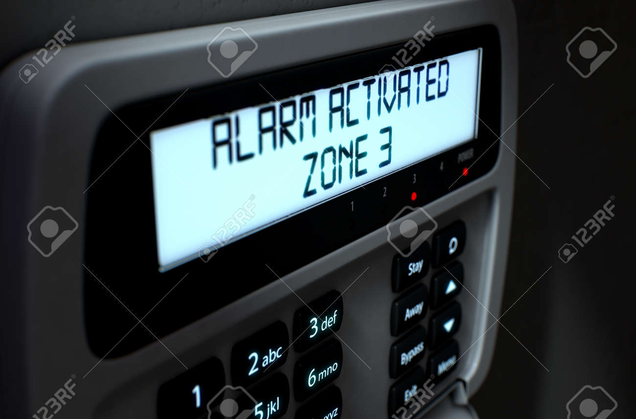 A 3D render of a home security keypad access panel with buttons and an illuminated screen displaying a break in or security breach - 64727099