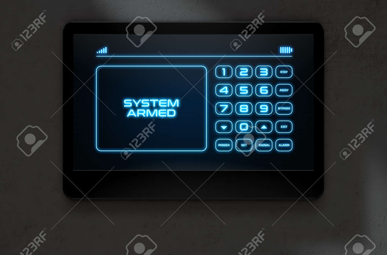 A 3D render of a modern touch screen interactive home security keypad access panel with an illuminated digital numeric keypad and words that read system armed - 64727101