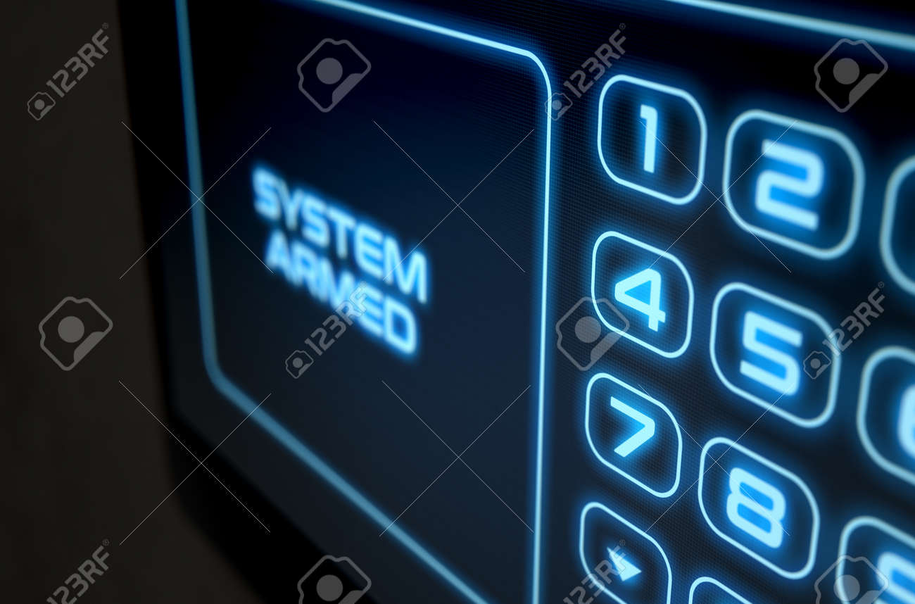 A 3D render of a modern touch screen interactive home security keypad access panel with an illuminated digital numeric keypad and words that read system armed - 64727105