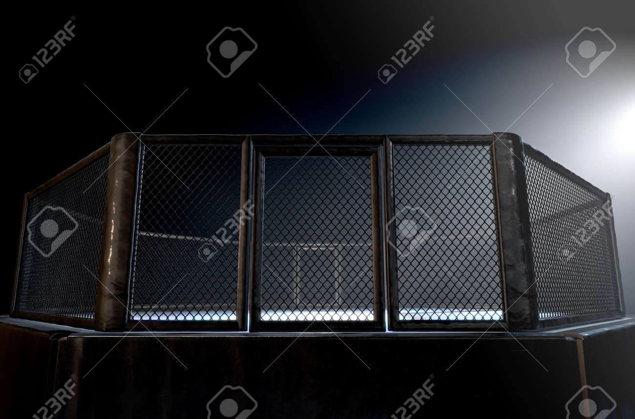 A 3D render of an MMA fight cage arena dressed in black padding spotlit by a single light on an isolated dark background - 66309843