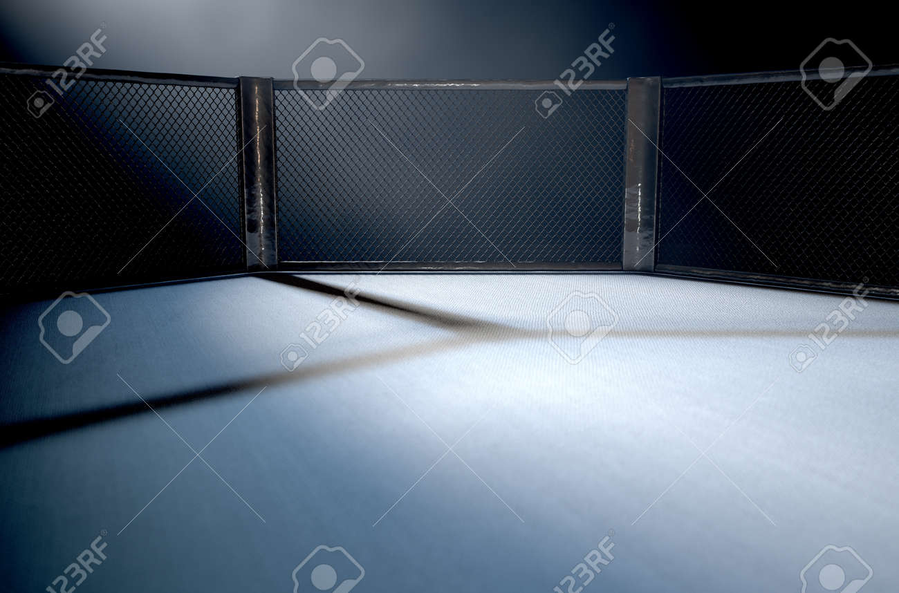 A 3D render of an MMA fight cage arena dressed in black padding spotlit by a single light on an isolated dark background - 66309847