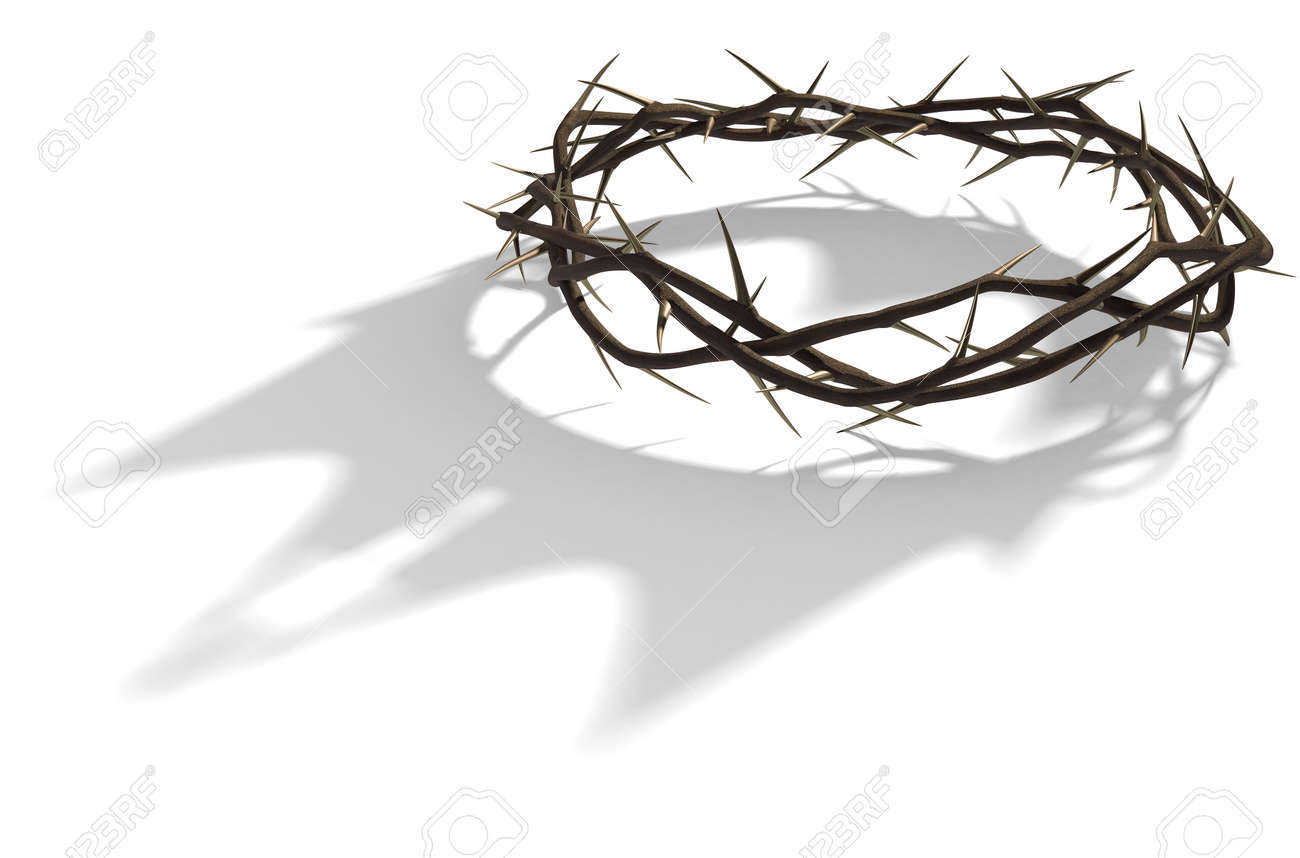 A 3D render concept of branches of thorns woven into a crown depicting the crucifixion casting a shadow of a royal crown on isolated white background - 68757780