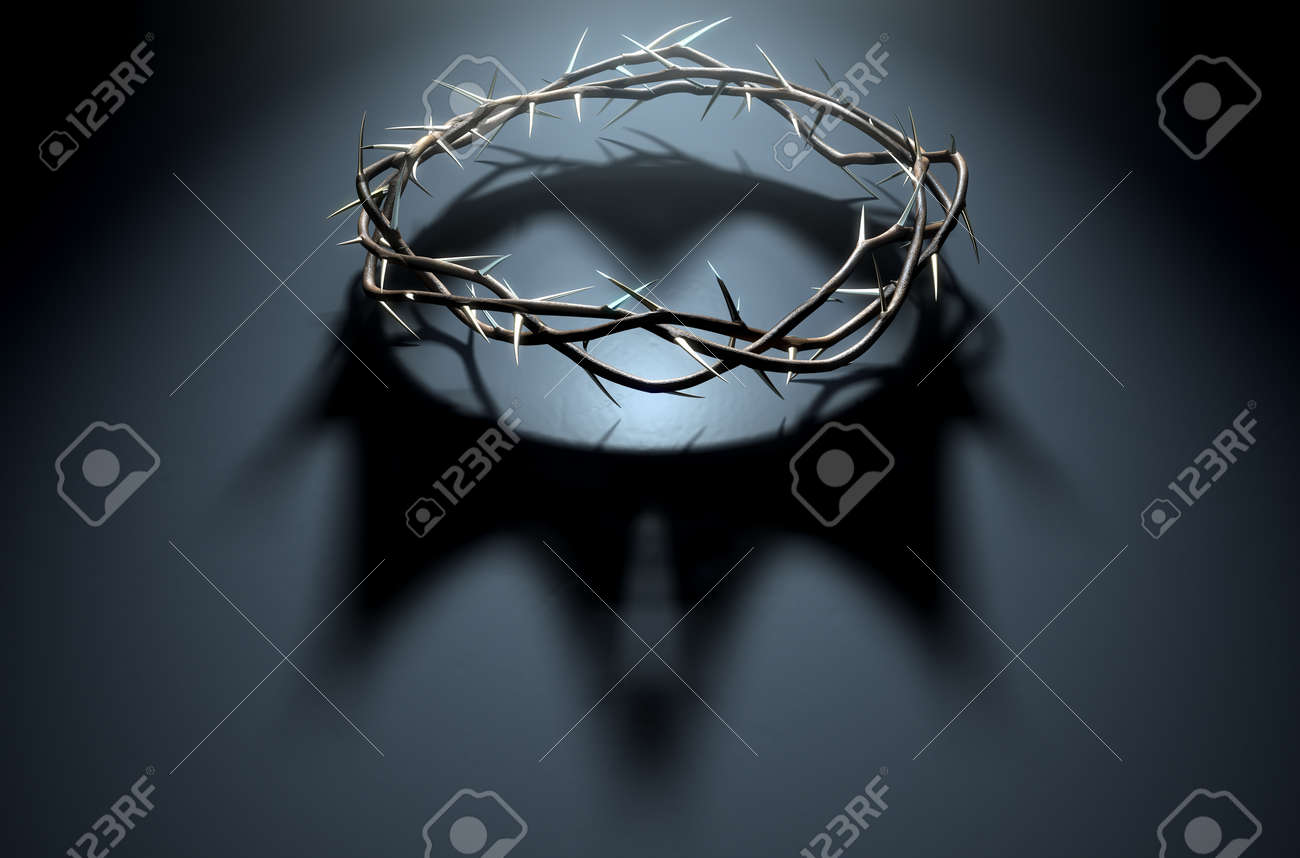 A 3D render concept of branches of thorns woven into a crown depicting the crucifixion casting a shadow of a royal crown on a dark background - 68757814