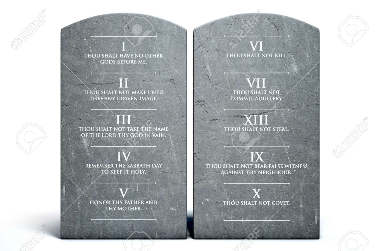 A 3D render of two stone tablets with the ten commandments etched on them on an isolated white background - 68757827