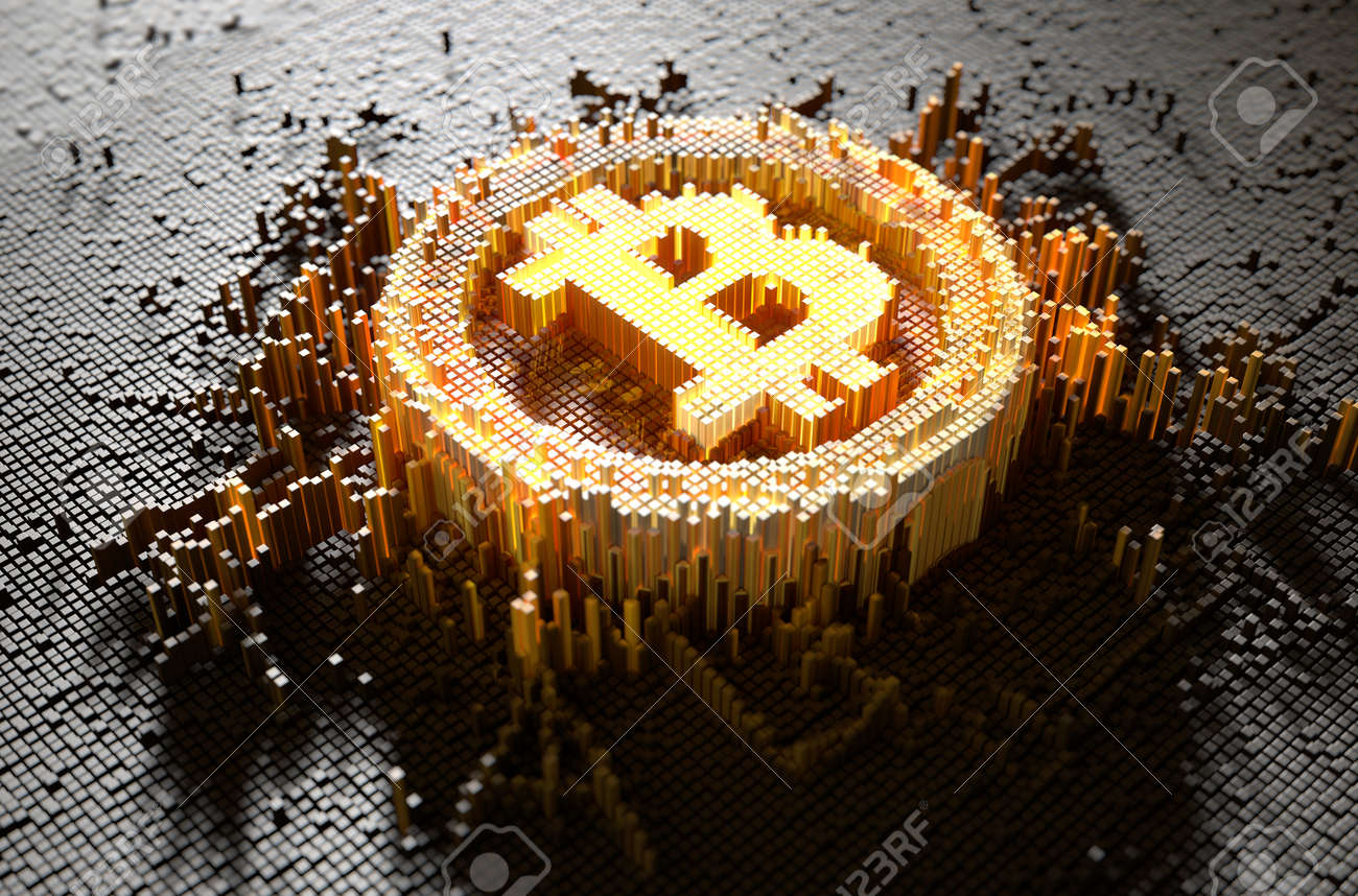A 3D render of a microscopic closeup concept of small cubes in a random layout that build up to form the bitcoin symbol illuminated - 68554698