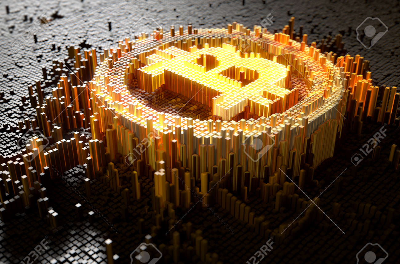 A 3D render of a microscopic closeup concept of small cubes in a random layout that build up to form the bitcoin symbol illuminated - 68542766