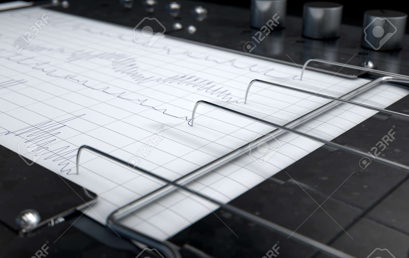 A 3D render of a polygraph lie detector machine drawing red lines on graph paper - 70822519