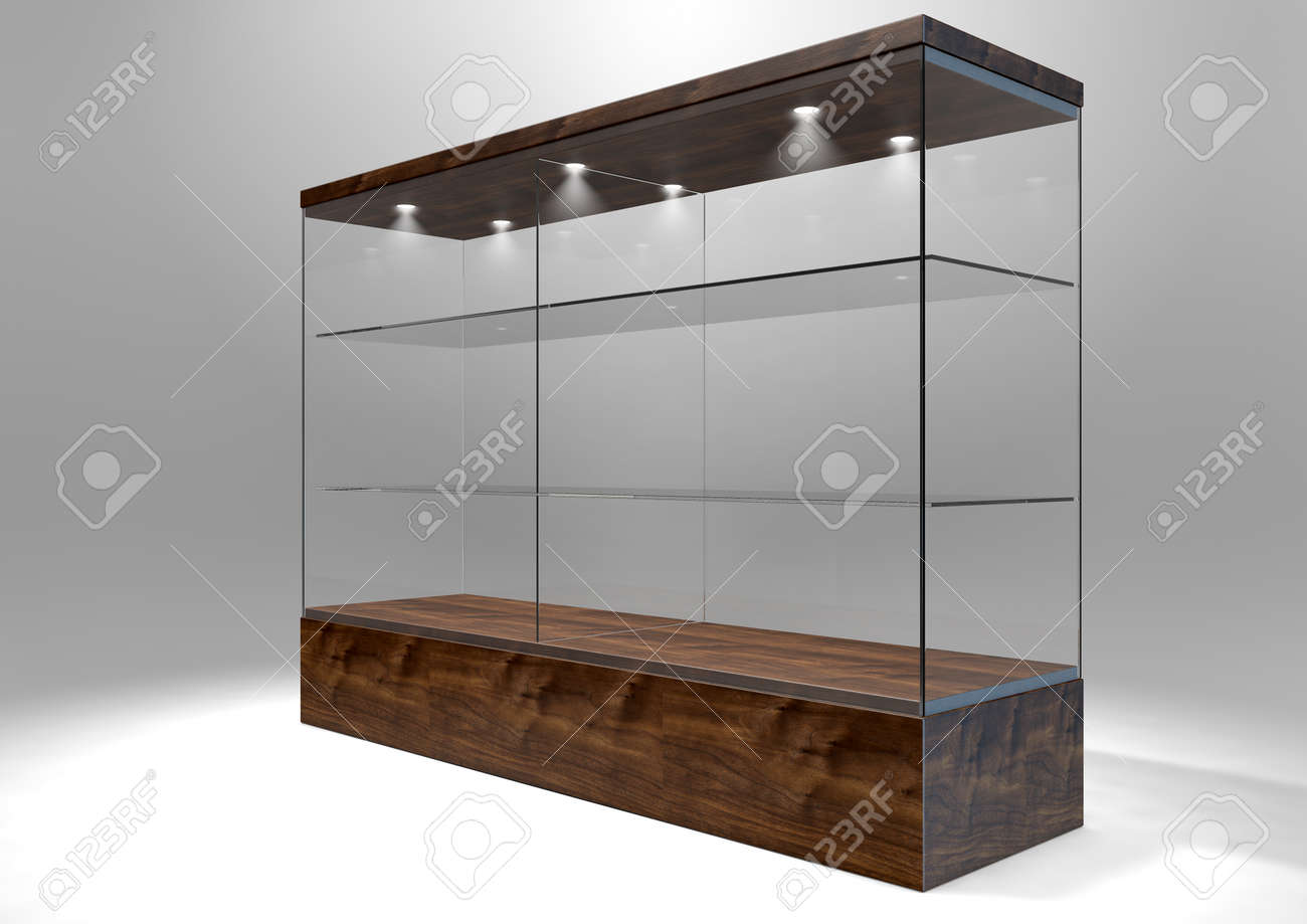 an empty rectangular glass display cabinet with a wooden base rh 123rf com wood and glass shelf wood and glass wall shelves