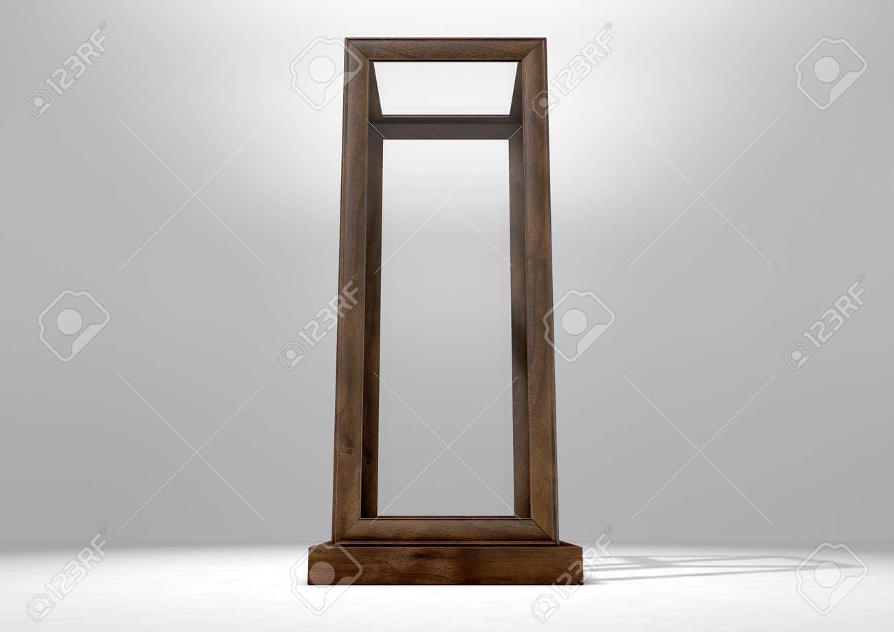 An Empty Verticle Glass Display Case With A Wooden Base And Frame ...
