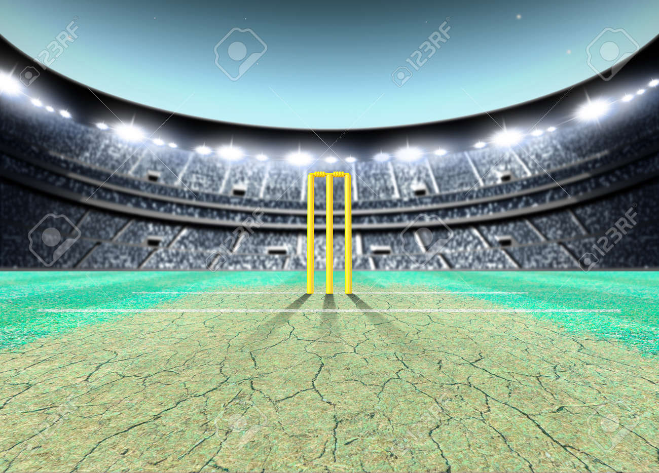 a generic seated cricket stadium with cracked pitch and yellow