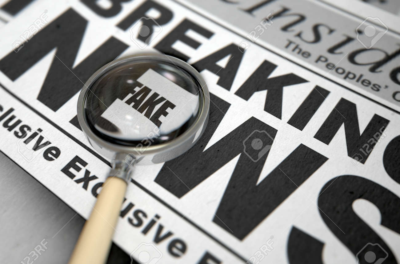 A fake news concept showing a printed newspaper with a magnifying glass highlighting an underlying message on the front page headline - 3D render - 71929847