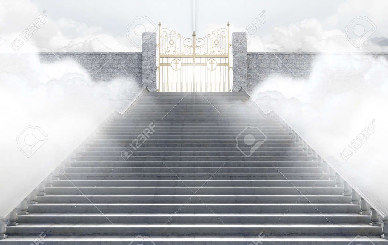 A concept depicting the majestic pearly gates of heaven surrounded by clouds and the staircase leading up to them - 3D render - 72344003