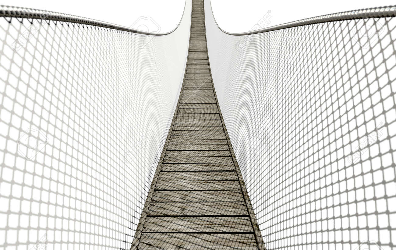 A Curved Rope Bridge Made Of Wooden Planks With Wire Sides On ...