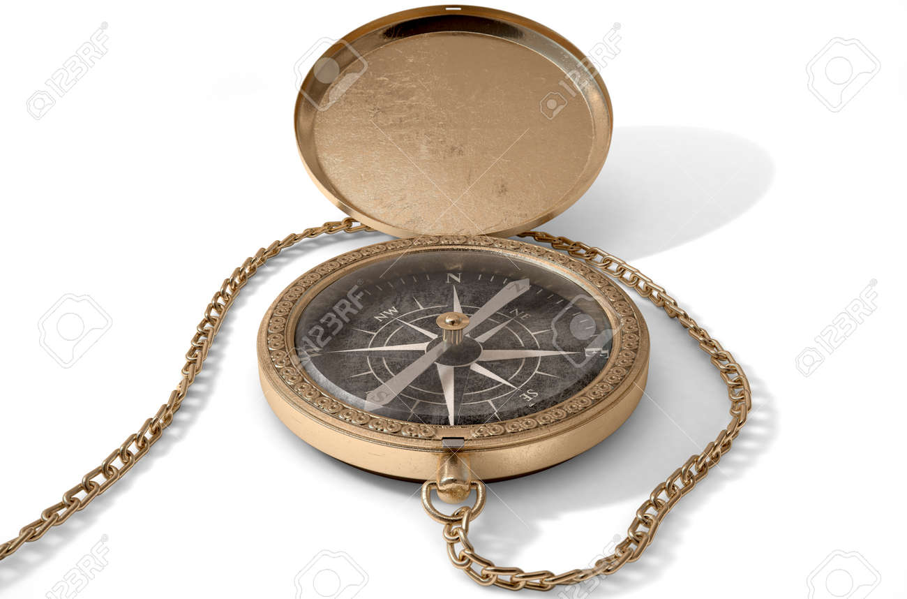 A Closeup Of An Intricate Vintage Pocket Compass With Open Lid And Chain Attached