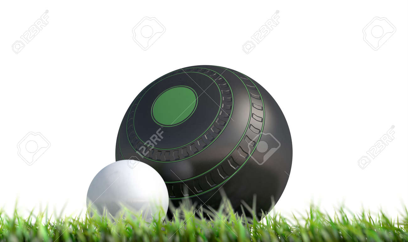A wooden lawn bowling ball next to a white jack in the grass on an isolated white background - 3D render - 75099684