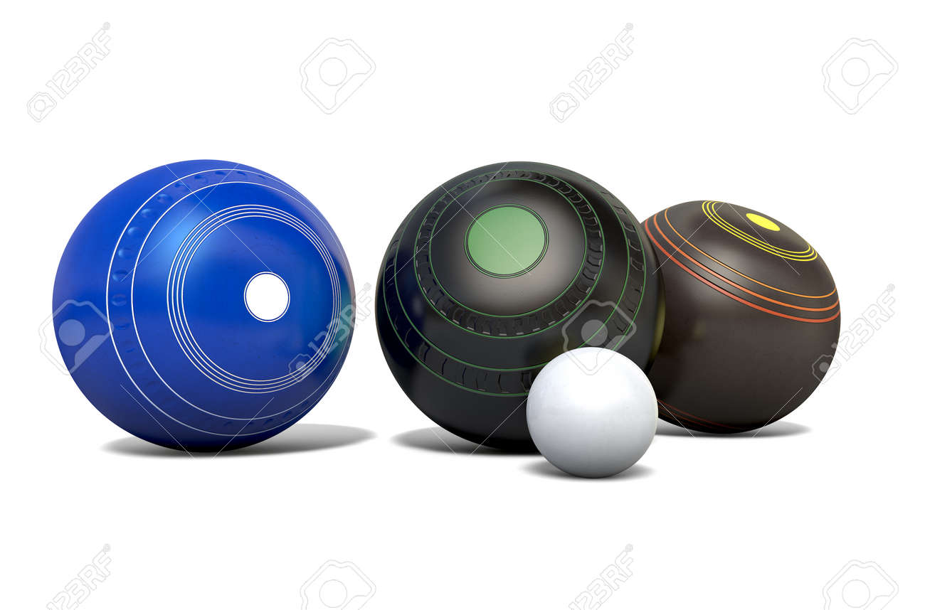 Three different designs of lawn bowling balls surrounding a white jack on an isolated white studio background - 3D render - 75099688