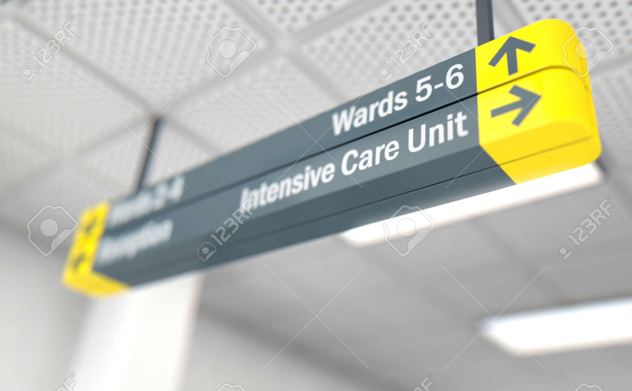A ceiling mounted hospital directional sign highlighting the way towards the intensive care unit - 3D render - 82513109