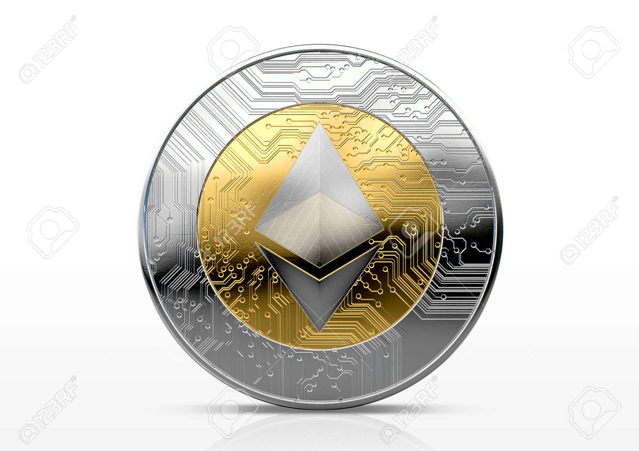 A physical ethereum cryptocurrency in gold and silver coin form