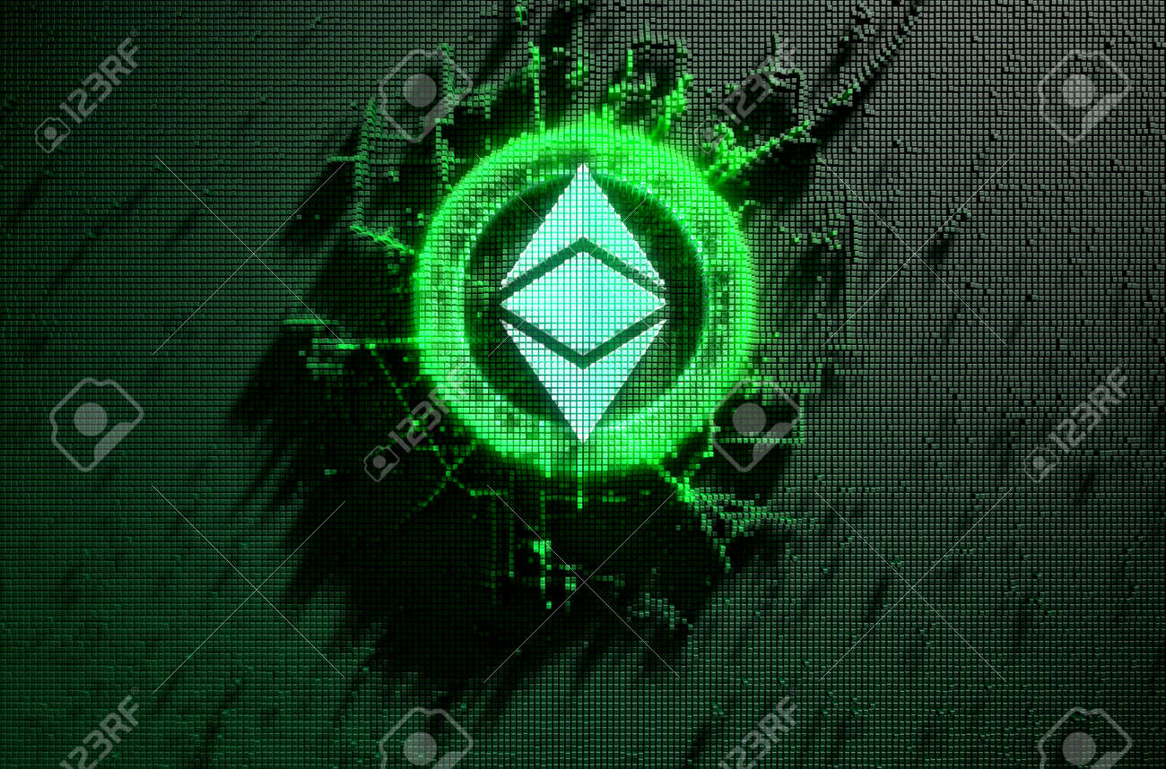 A microscopic closeup concept of small cubes in a random layout that build up to form the ethereum classic symbol illuminated - 3D render - 89823373