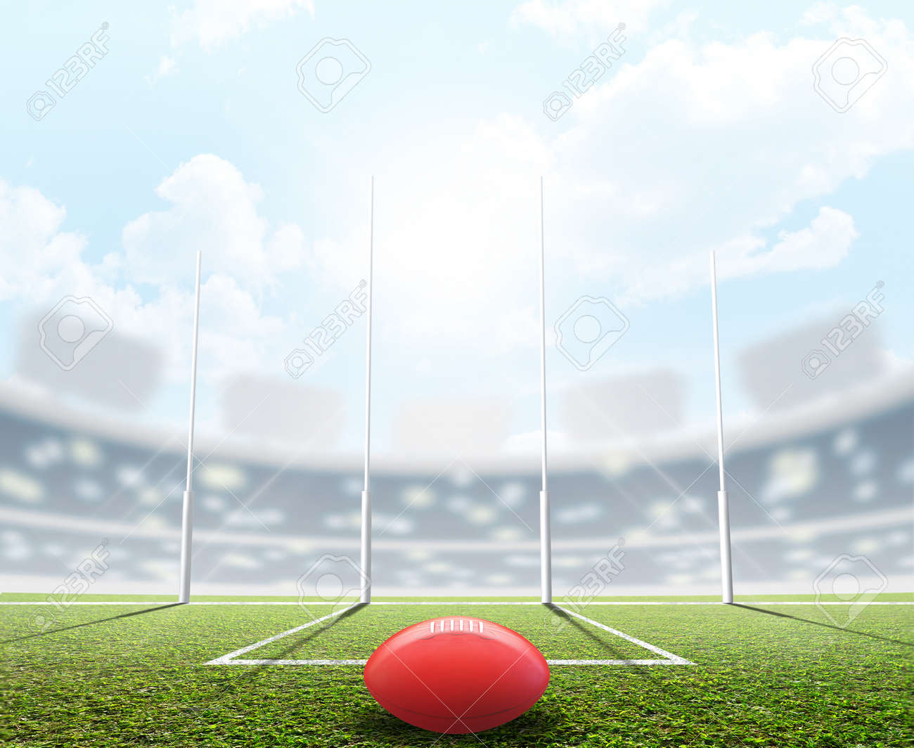 An aussie rules football stadium with a ball and goal posts in the daytime under a blue sky - 3D render - 89823330