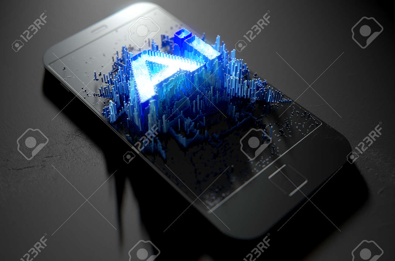 A microscopic closeup concept of small cubes in a random layout that build up to form the word artificial intelligence illuminated on a generic smartphone - 3D render - 90265059