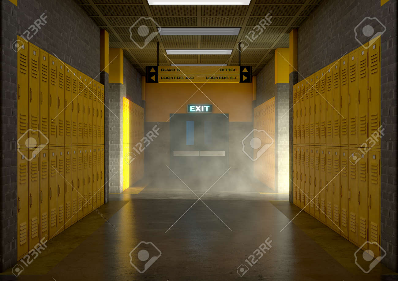 A look down a well lit clean schools hallway of yellow lockers
