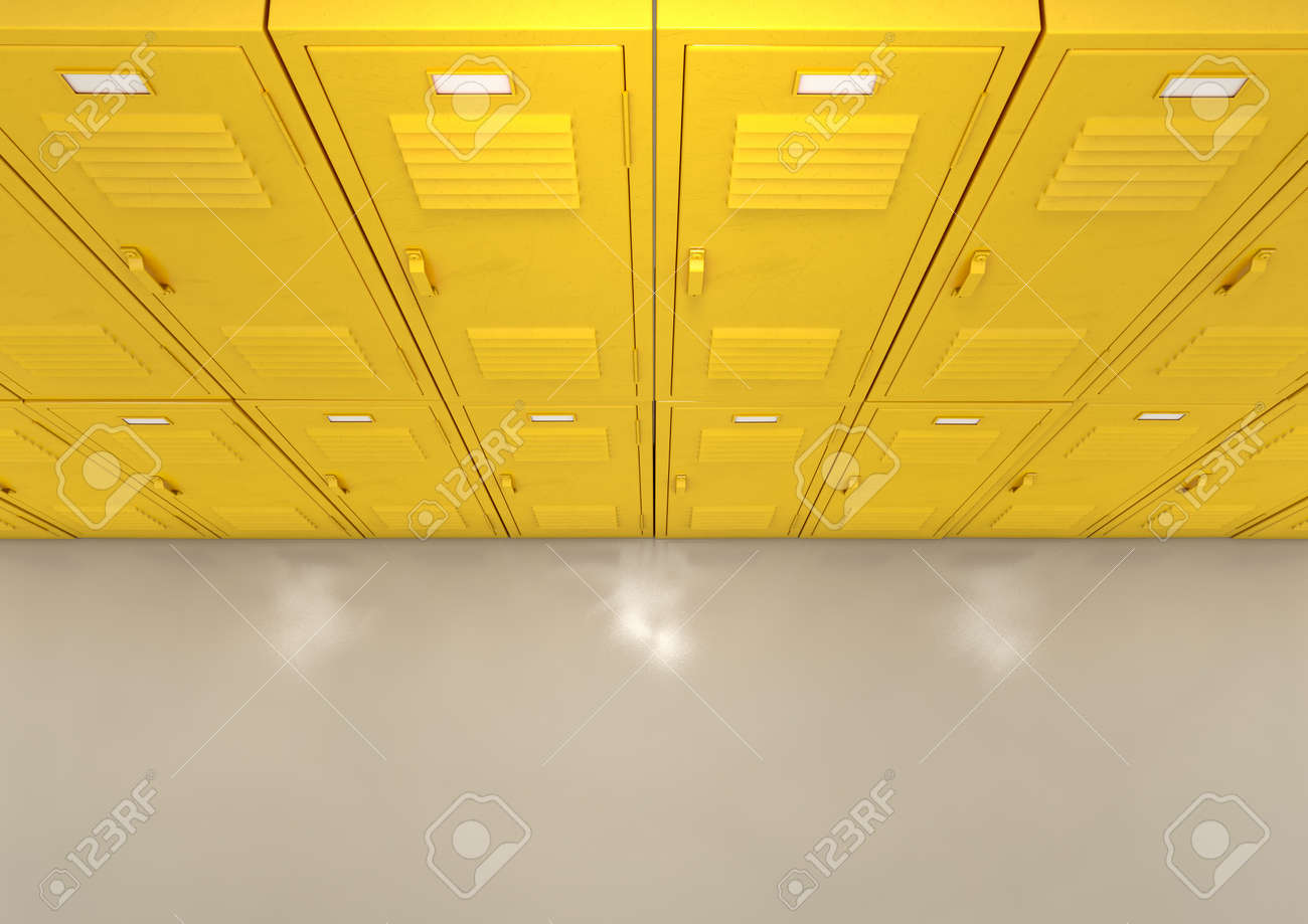 A flat look at a well lit stack of yellow lockers in a school