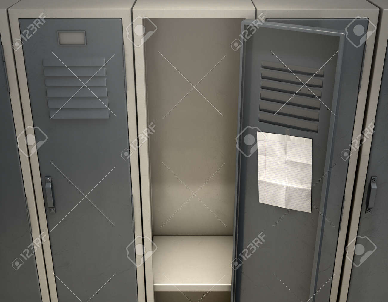 A Row Of Metal School Lockers With One Open Door And A Blank Stock Photo Picture And Royalty Free Image Image 92512613