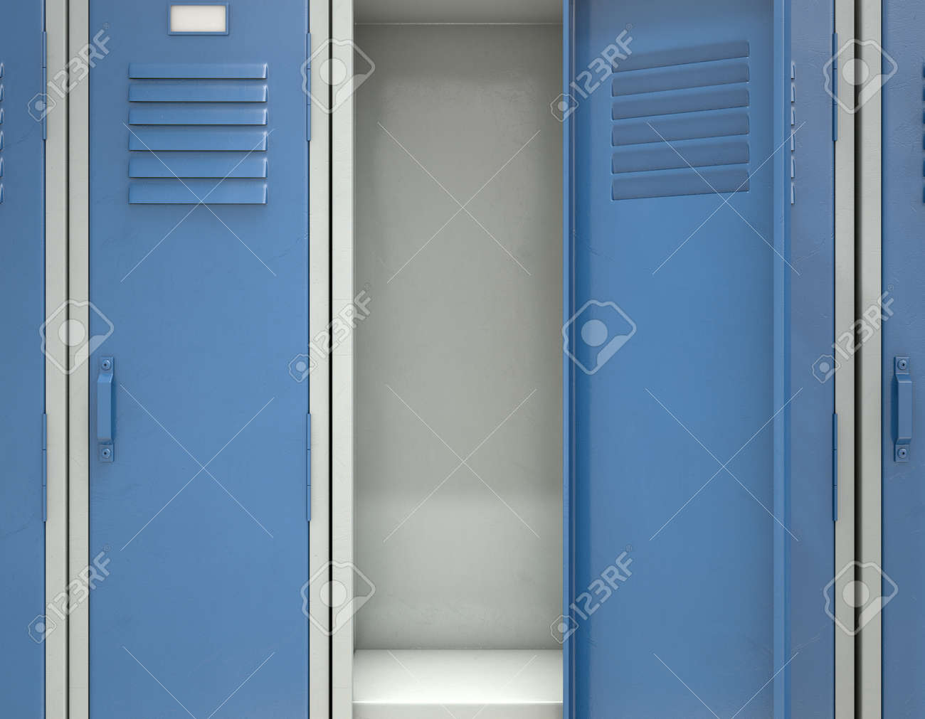 A Row Of Blue Metal School Lockers With One Open Door Revealing Stock Photo Picture And Royalty Free Image Image 95061810