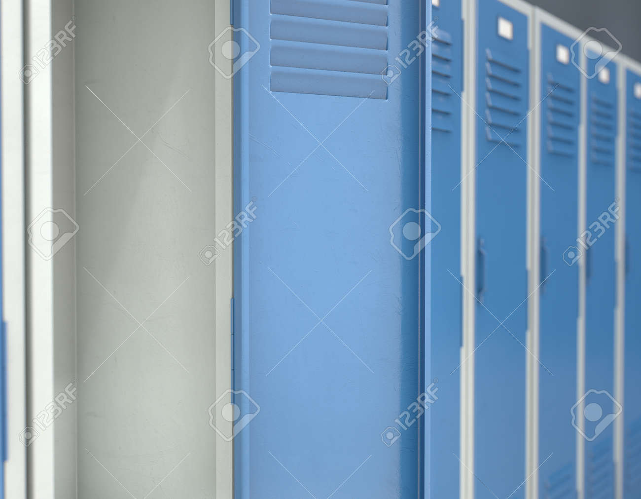 A Row Of Blue Metal School Lockers With One Open Door Revealing Stock Photo Picture And Royalty Free Image Image 104172761