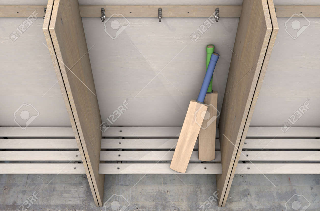 Fine Two Cricket Bats In A Wooden Cubicle With A Bench And Hangers Machost Co Dining Chair Design Ideas Machostcouk
