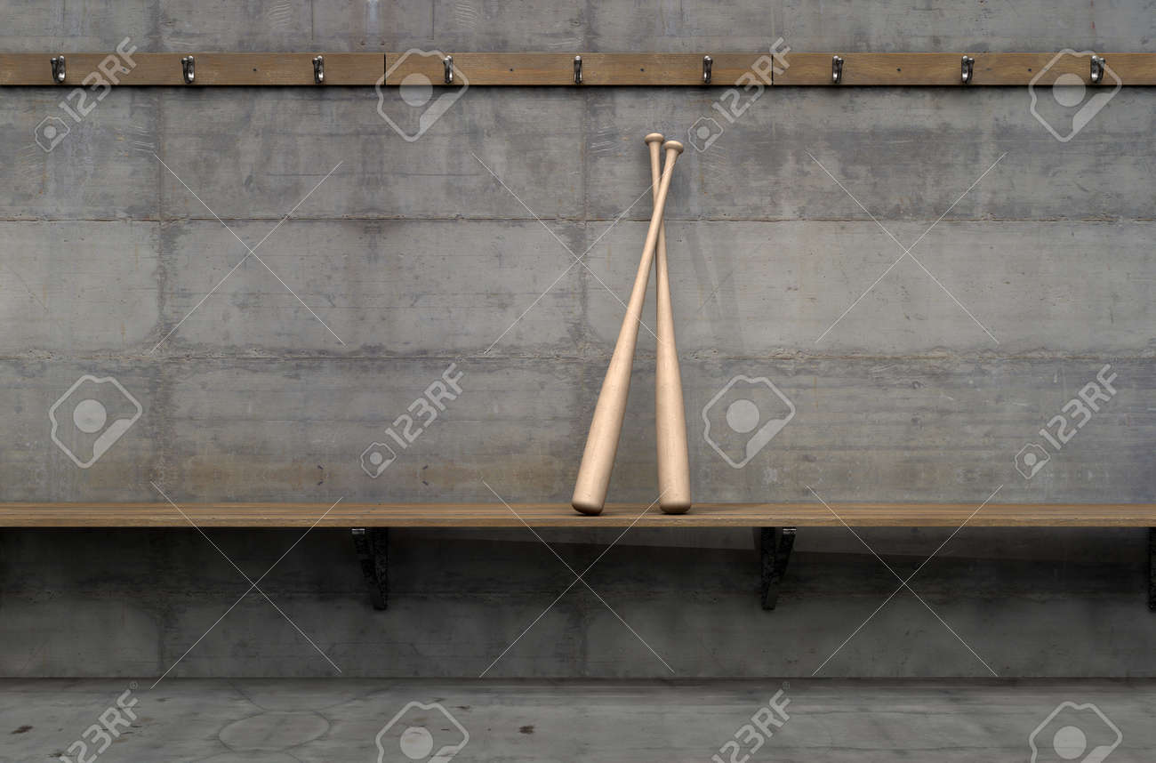 Fabulous Two Baseball Bats On A Wooden Bench In A Rundown Sports Locker Beatyapartments Chair Design Images Beatyapartmentscom