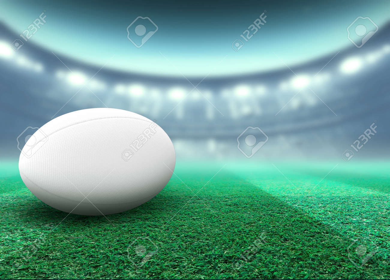 A reguar white rugby ball resting on a stadium grass pitch at night under illuminated floodlights - 3D render - 125812432