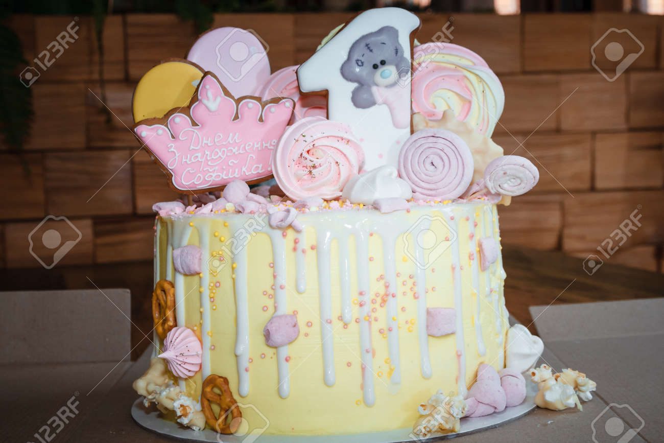 Stupendous Big Birthday Cake For The Baby 1 Year Old Stock Photo Picture Funny Birthday Cards Online Barepcheapnameinfo