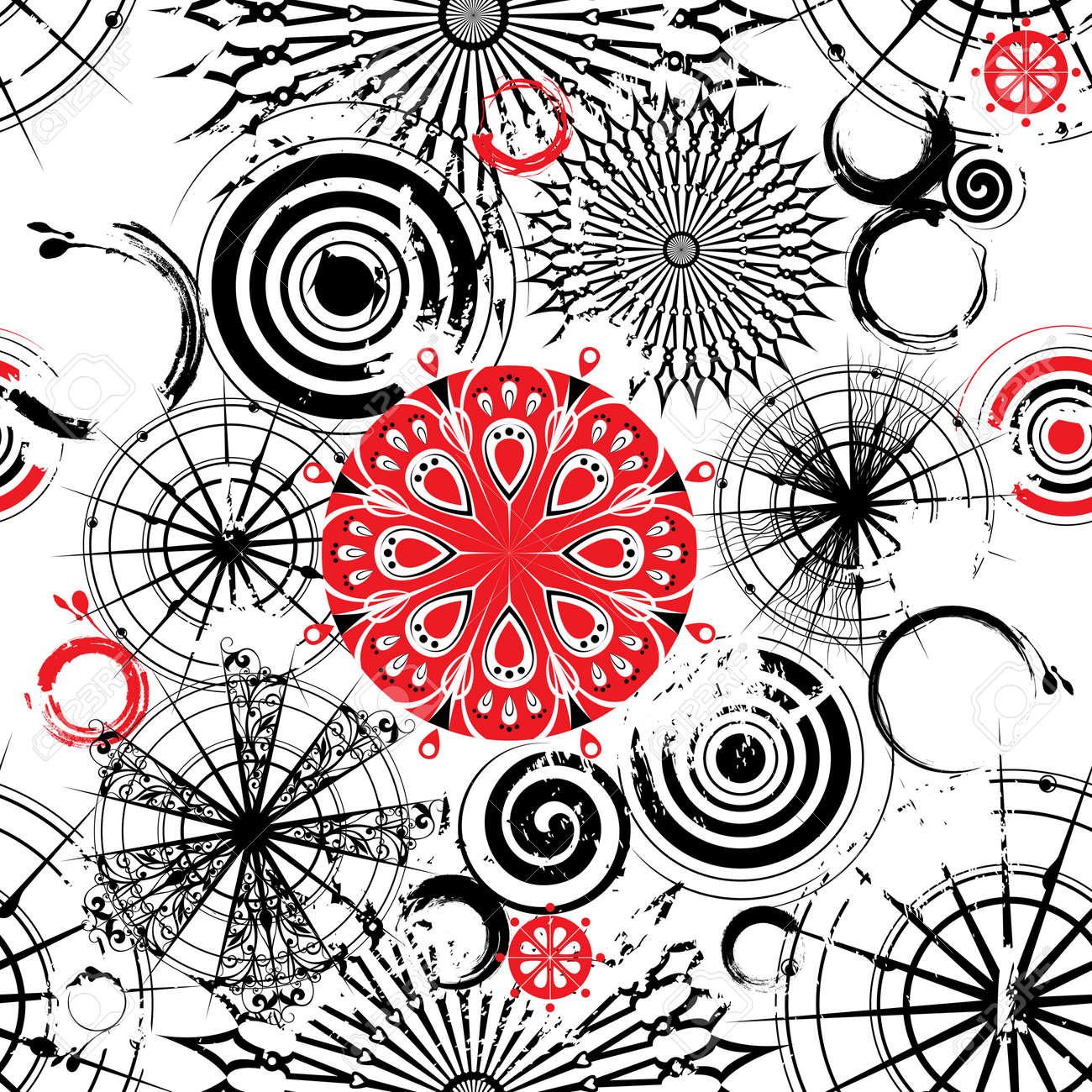seamless grunge background with decorative openwork black, white and red circles - 8806199