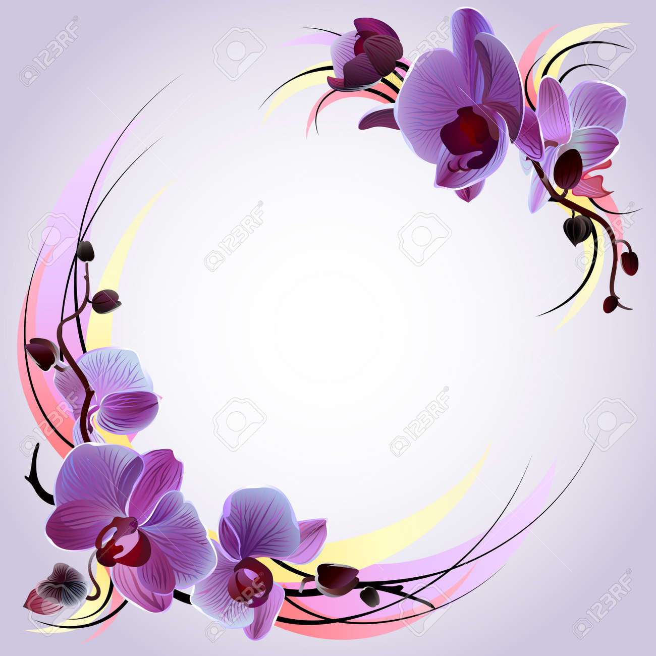Vector greeting card with branches of violet orchids Stock Vector - 9151329